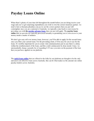 Quick Online Loans | Cash Loans Online - Apply Now