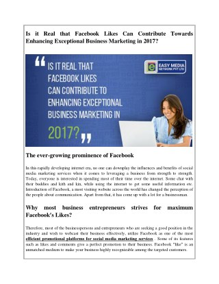 Is it Real that Facebook Likes Can Contribute Towards Enhancing Exceptional Business Marketing in 2017?
