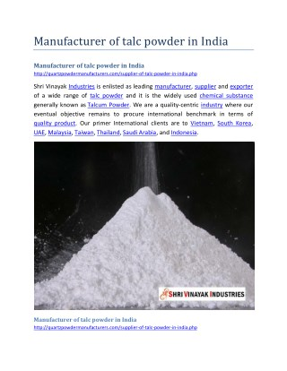 Manufacturer of talc powder in India