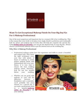 Want To Get Exceptional Makeup Finish On Your Big Day?Go For A Makeup Professional