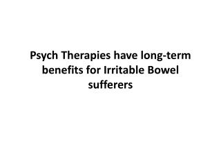 Psych Therapies have long-term benefits for Irritable Bowel sufferers