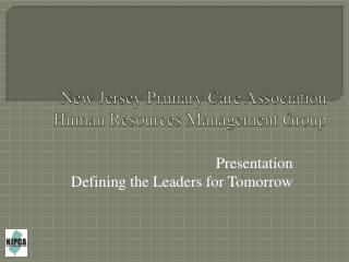 New Jersey Primary Care Association  Human Resources Management Group