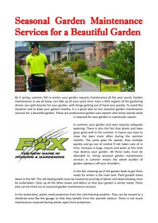 Seasonal Garden Maintenance Services for a Beautiful Garden