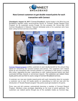 Connect offers double reward points to all customers