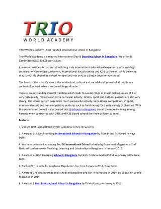 TRIO World academy - Best reputed International school in Bangalore
