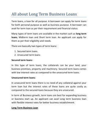 All about Long Term Business Loans