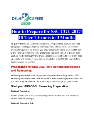 How to Prepare for SSC CGL 2017-18 Tier 1 Exams in 3 Months