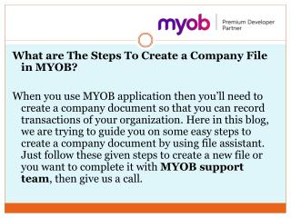 What are The Steps To Create a Company File in MYOB?