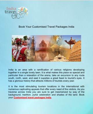 Book Your Customised Travel Packages India