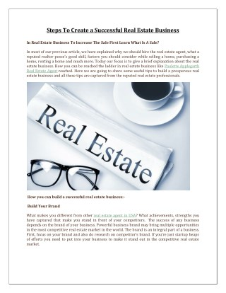 Steps To Create a Successful Real Estate Business