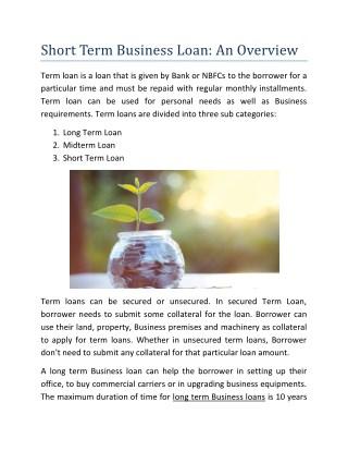 Short Term Business Loan: An Overview