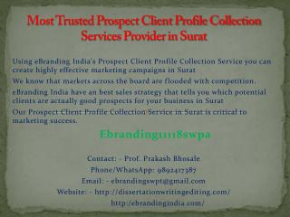 Most Trusted Prospect Client Profile Collection Services Provider in Surat