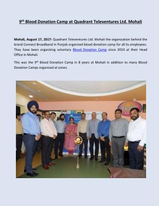 9th Blood Donation Camp at Quadrant Televentures Ltd. Mohali