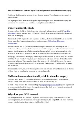 New study finds link between higher BMI and poor outcome after shoulder surgery