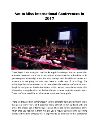 Not to Miss International Conferences in 2017