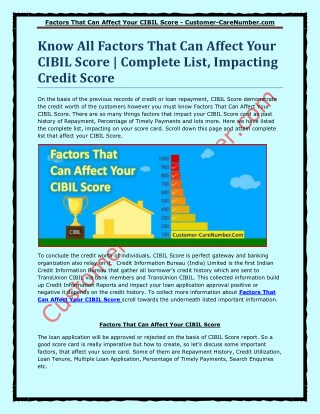 Factors That Can Affect Your CIBIL Score