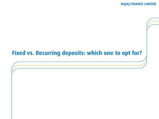 FD VS RD- Which One to Opt for Investment
