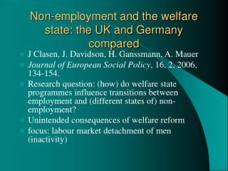 Non-employment and the welfare state: the UK and Germany compared