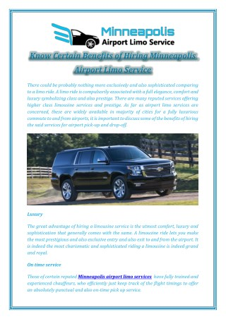 Know Certain Benefits of Hiring Minneapolis Airport Limo Service