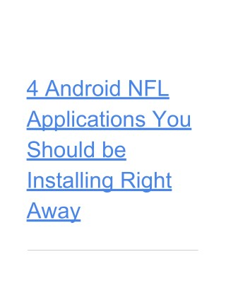 4 Android NFL Applications You Should be Installing Right Away