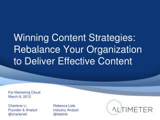 Marketing Cloud: Winning Content Strategies Marketing Webinar