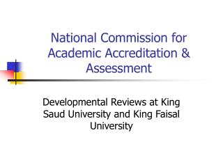 National Commission for Academic Accreditation & Assessment