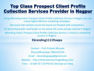 Top Class Prospect Client Profile Collection Services Provider in Nagpur