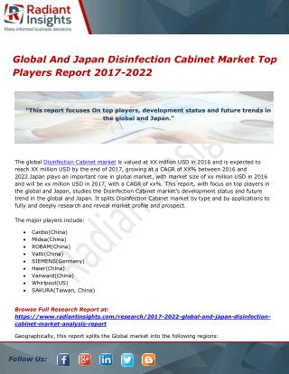 Global And Japan Disinfection Cabinet Market Top Players Report 2017-2022