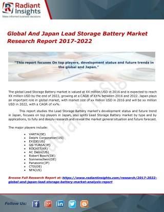 Global And Japan Lead Storage Battery Market Research Report 2017-2022