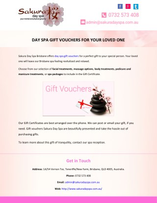 DAY SPA GIFT VOUCHERS FOR YOUR LOVED ONE