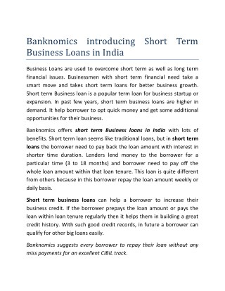 Banknomics introducing Short Term Business Loans in India