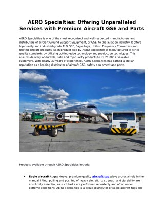 Get Aircraft Tow Tractor by Global Distributor AERO Specialties, Inc.