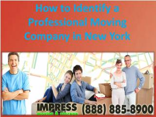 How to Identify a Professional Moving Company in New York