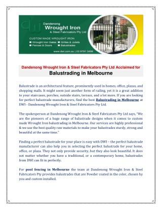 Balustrading In Melbourne