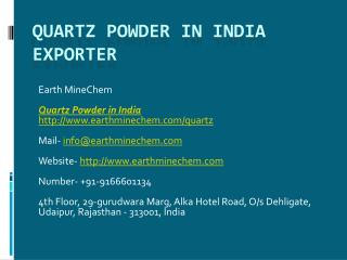 Quartz Powder in India Exporter