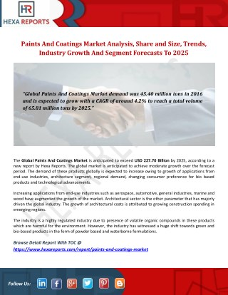 Paints And Coatings Industry: Outlook, Analysis and Overview