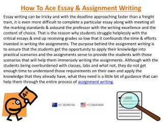 Receive High Quality Assignment Writing Services in US