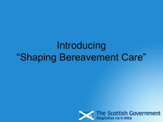 "Introducing  ""Shaping Bereavement Care"""