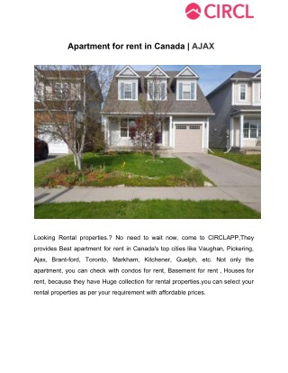Apartment for rent in canada  ajax