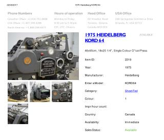 Buy Used 1975 KORD 64 HEIDELBERG Printing Presses Machine