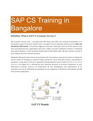 SAP CS Training in Bangalore