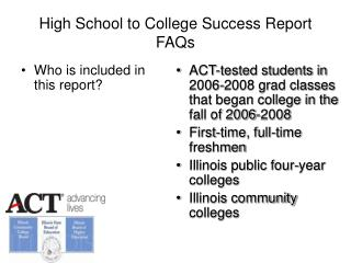 High School to College Success Report FAQs