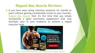 Ripped Max Muscle Reviews, Cost, Price and Free Trial