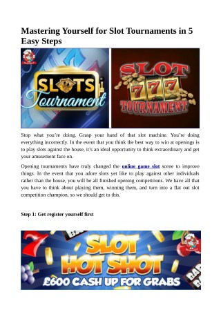 Mastering Yourself for Slot Tournaments in 5 Easy Steps