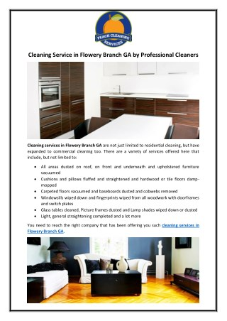 Cleaning Service in Flowery Branch GA by Professional Cleaners