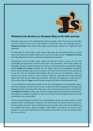 Petaluma Car Service is a Greatest Way to Do Safe Journey