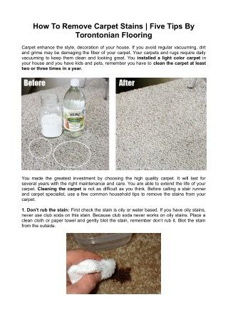 How To Remove Carpet Stains | Five Tips By Torontonian Flooring