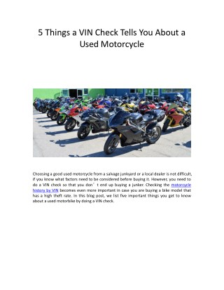 5 Things a VIN Check Tells You About a Used Motorcycle