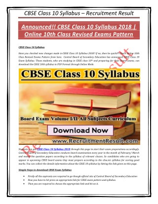 CBSE Class 10 Syllabus