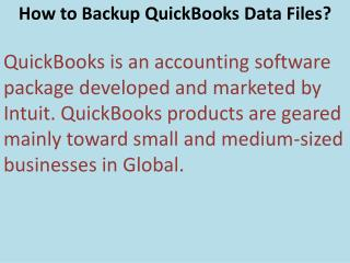 How to Backup QuickBooks Data Files?